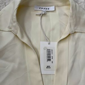 Frame silk blouse smooth front off white NEW XXS